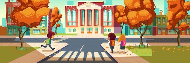 Les enfants vont à la bannière de l'école