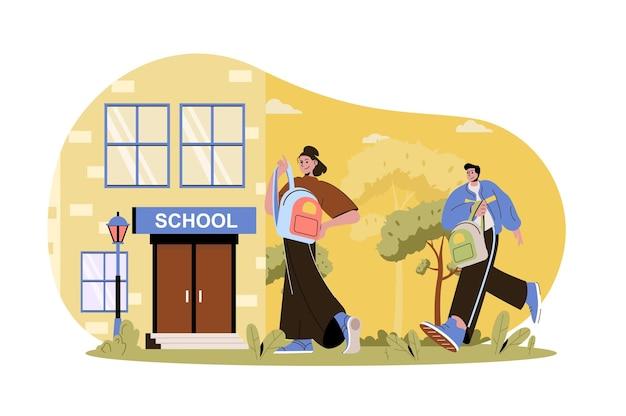 Les enfants vont à l'école concept web les élèves avec des cartables vont aux cours camarades de classe adolescents