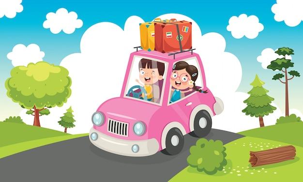 Enfants voyageant avec une voiture drôle
