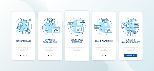 Engager la communauté en ligne sur l'écran de la page de l'application mobile avec des concepts. instructions graphiques en 5 étapes pour la notoriété de la marque. modèle vectoriel d'interface utilisateur avec illustrations en couleur rvb