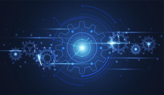 Engrenage abstrait reliant la technologie de la science