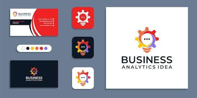 Engrenage, ampoule, symbole de conversation. modèle de conception de logo et carte de visite de stratégie d'entreprise