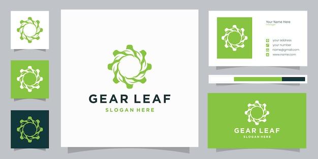 Engrenage avec carte de visite et icône de conception de logo de feuille
