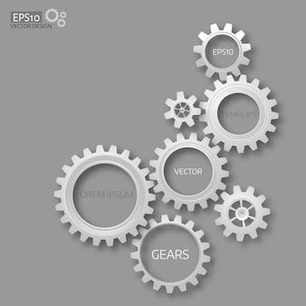 Engrenages 3d réalistes sur fond gris