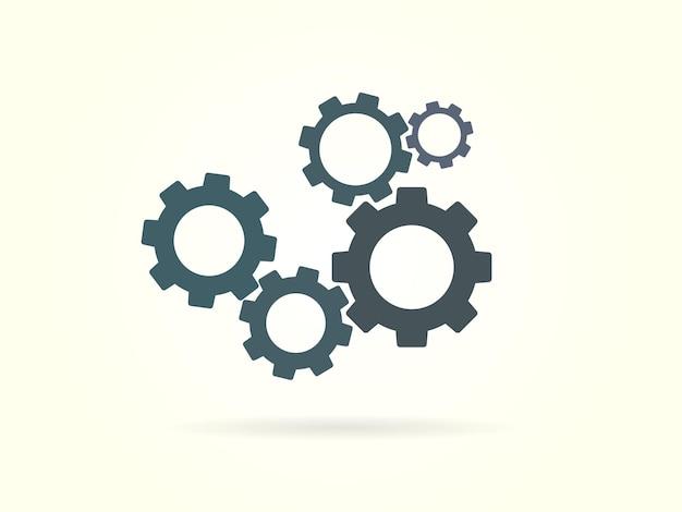 Engrenages en cours icône vector illustration