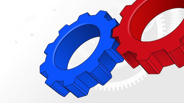 Engrenages à crémaillère tech business teamwork concept vector background