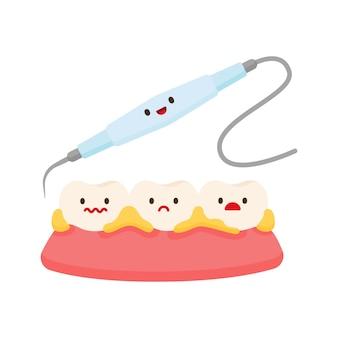 Enlèvement de la plaque de soins dentaires pour le nettoyage
