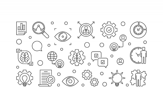 Énoncé de vision contour illustration icône horizontale