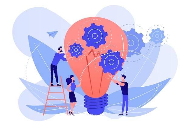 Énorme ampoule et équipe commerciale détenant des engrenages. travail d'équipe et collaboration, réalisation des objectifs, collègues et concept de main-d'œuvre sur fond blanc.