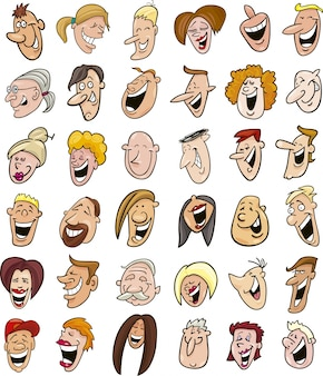 Énorme ensemble de visages de gens qui rient