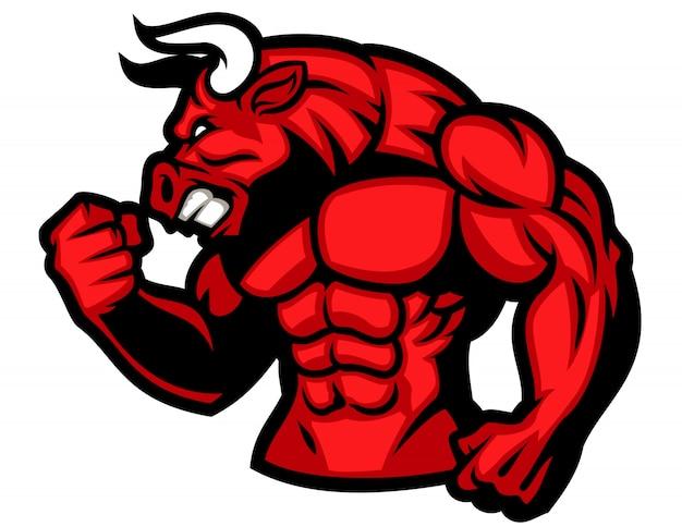 Énorme muscle de taureau rouge