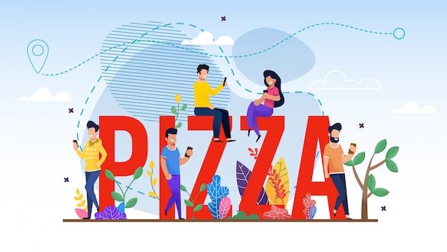 Énorme pizza word et de minuscules personnes font une commande en ligne