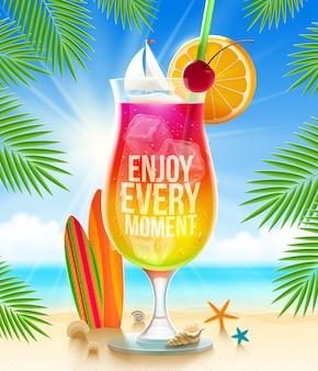 Énorme verre avec cocktail exotique et salutation d'été sur la plage tropicale - illustration