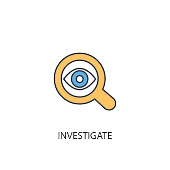 Enquêter sur l'icône de la ligne de couleur du concept 2. illustration simple d'élément jaune et bleu. enquêter sur la conception de symbole de contour de concept
