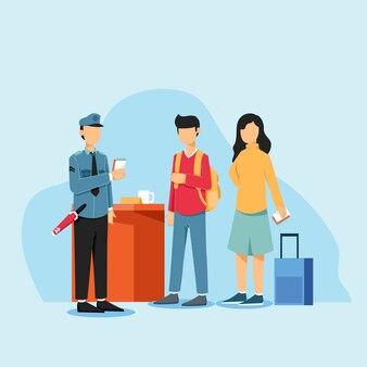 Enregistrement à l'aéroport. personnes debout avec des billets et des passeports