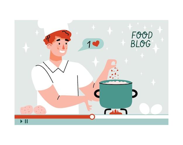Enregistrement d'un blog culinaire avec un blogueur cuisinant une illustration vectorielle de dessin animé en ligne