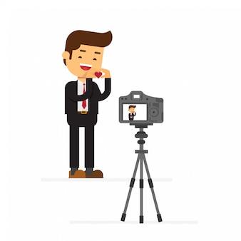 Enregistrement du blog happy valentines studio sur caméra