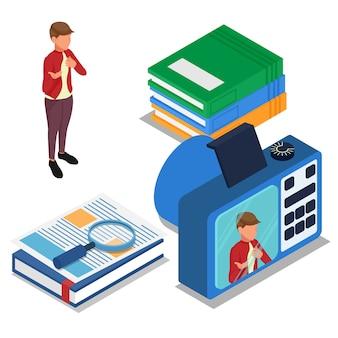 Enregistrement de l'élève lorsqu'il se présente devant un appareil photo numérique. vecteur