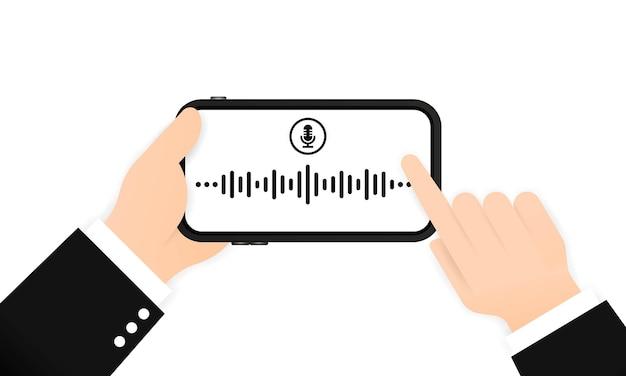 Enregistrement d'un message vocal sur le téléphone. communication en ligne. vecteur sur fond blanc isolé. eps 10.