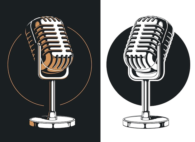Enregistrement de microphone de podcasting silhouette isolé