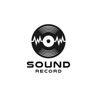 Enregistrement de studio de musique de vinyle, création de logo d'onde sonore