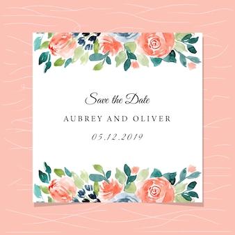 Enregistrer la carte de date avec joli cadre floral aquarelle