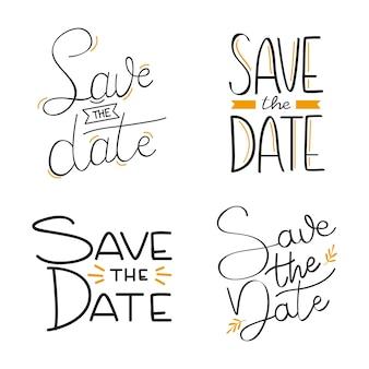 Enregistrer la collection de lettrage de mariage de date