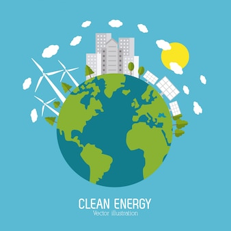 Enregistrer le concept d'énergie avec la conception d'icônes eco