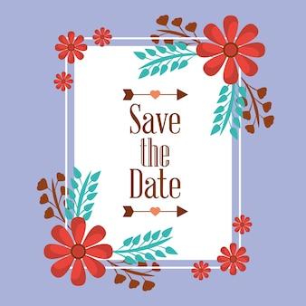 Enregistrer la date pour un mariage avec un cadre de fleurs