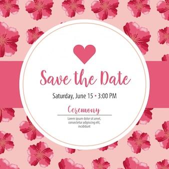 Enregistrer l'étiquette de carte de date avec des fleurs roses sur