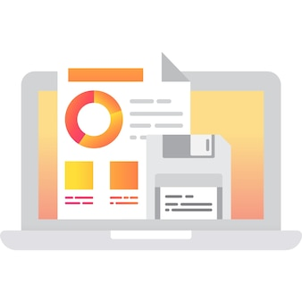 Enregistrer le fichier vectoriel d'icône de données sur l'écran de l'ordinateur