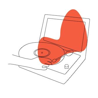 Enregistrer une illustration de doodle de musique en vinyle. fond musical. style vintage. dessin vectoriel. toile de fond plat de dessin animé.