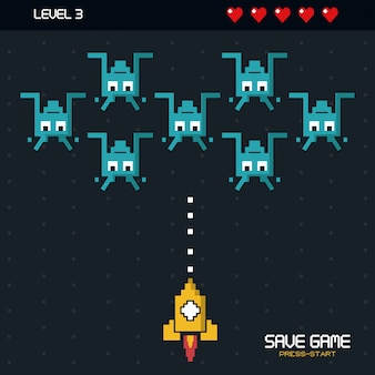 Enregistrer jeu appuyez sur démarrer avec des graphismes de jeu spatial dans le niveau trois