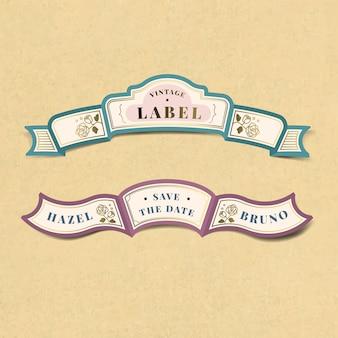 Enregistrer le jeu de vecteur étiquette vintage mariage invitation étiquette