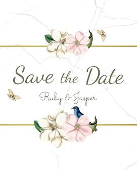 Enregistrer la maquette d'invitation de mariage de date