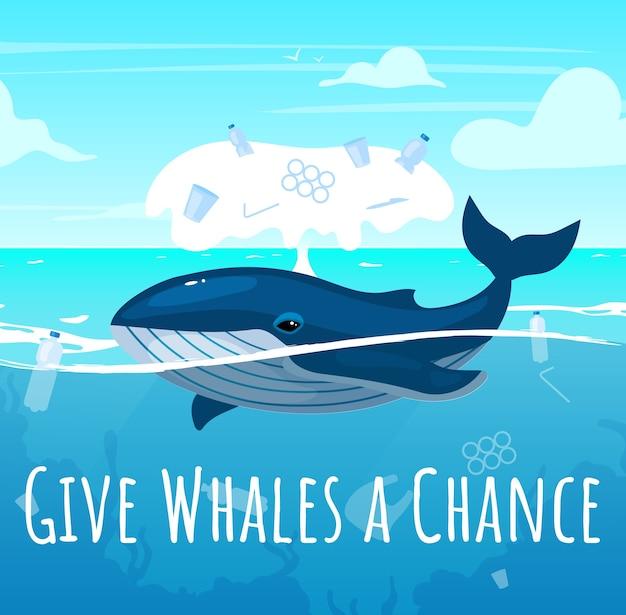 Enregistrer la maquette de publication de médias sociaux sur les baleines. pollution plastique dans l'océan. modèle de conception de bannière web publicitaire. booster de médias sociaux, mise en page du contenu. affiche de promotion, annonces imprimées avec illustrations plates