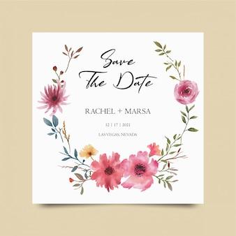 Enregistrer le modèle de date, avec une décoration de bouquet de fleurs aquarelle