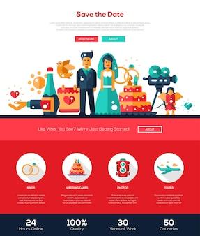 Enregistrer le modèle de site web de services de mariage de date
