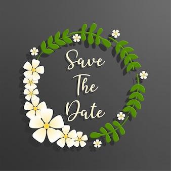 Enregistrer le texte de la date avec le cadre floral cercle vert