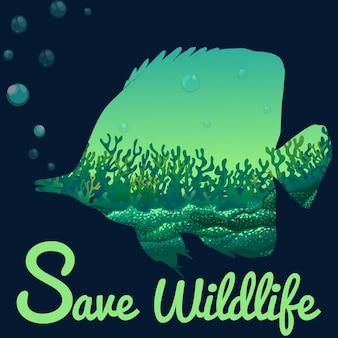 Enregistrer le thème de la faune avec les poissons sous l'eau
