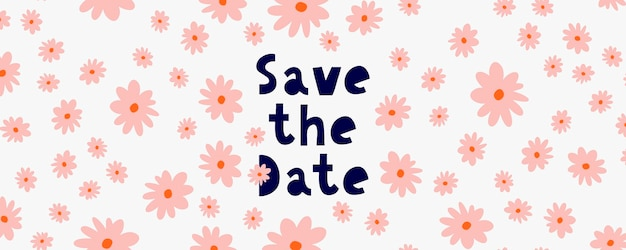 Enregistrez la bannière de date avec des fleurs roses en technique d'aquarelle.
