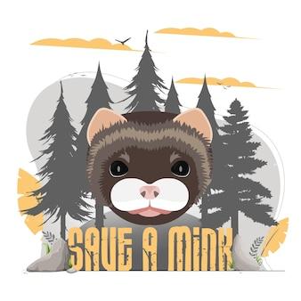 Enregistrez la bannière de vison. visage de vison, silhouette de la forêt. concept de conservation des animaux.