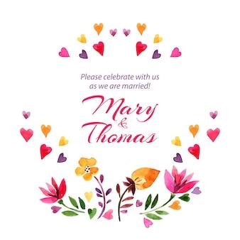 Enregistrez la carte d'amour de date avec un bouquet floral aquarelle. illustration vectorielle de mariage et de la saint-valentin