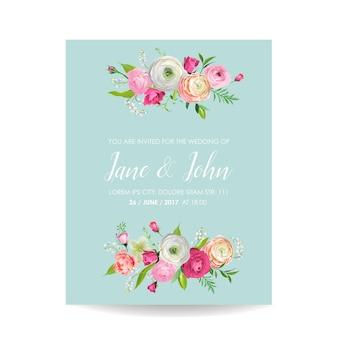 Enregistrez la carte de date avec des fleurs roses en fleurs. invitation de mariage, fête d'anniversaire, décoration, modèle floral rsvp. illustration vectorielle
