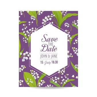 Enregistrez la carte de date avec les fleurs de la vallée du lys en fleurs. invitation de mariage, fête d'anniversaire, modèle floral rsvp. illustration vectorielle