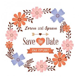 Enregistrez la carte de date avec des fleurs