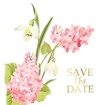 Enregistrez la carte de date avec le signe du modèle et la guirlande de fleurs de printemps.