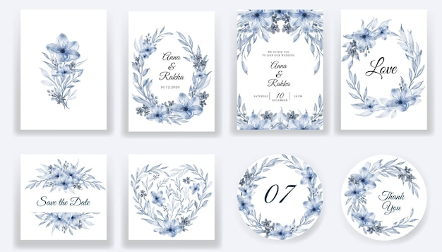 Enregistrez la collection de cartes et d'invitations bleues aquarelle florale de date