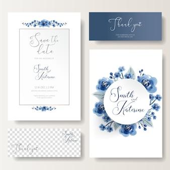Enregistrez la date carte de mariage spéciale roses bleues texture de motif