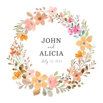 Enregistrez la date couronne florale sauvage avec aquarelle